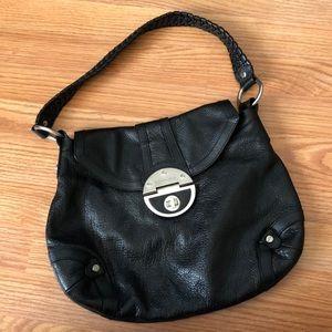 Elliott Lucca Black Leather Braided Strap Bag